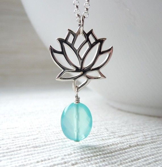 Lotus Necklace, Yoga Jewelry, Blue Chalcedony Gemstone, Sterling Silver Lotus Flower Charm Necklace