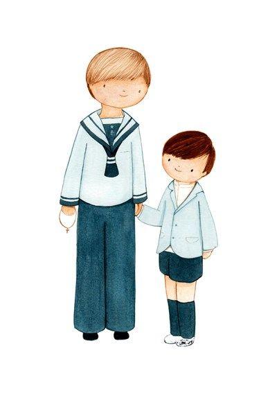 Dibujo personalizado de Primera Comunión. Niño de marinero Primera Comunión. UrsulaNieto