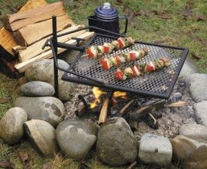 A portable grill to cook over the campfire