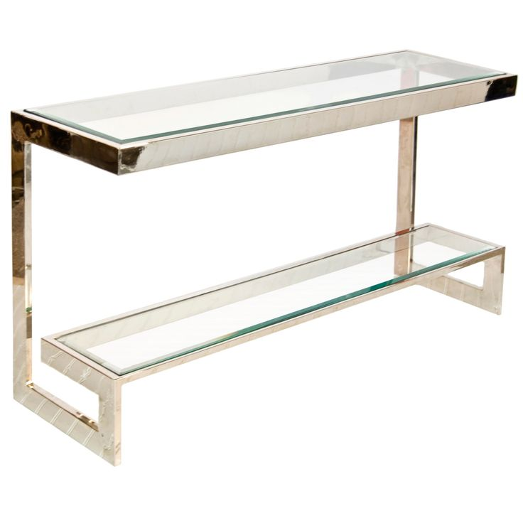 Low Fold Away Coffee Table: Worlds Away Noho Nickel Low Console Table WANOHON