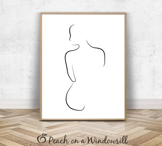 Weibliche Figur Nacktschnecken | Nackte Silhouette Art | Schwarz-Weiß Contour Line Drawing | Minimalistische weibliche Körperkunst | 8×10 druckbar – Matosch