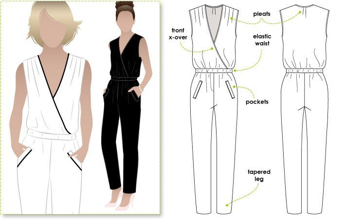 Fashionable yet comfortable woven jumpsuit with elastic waist