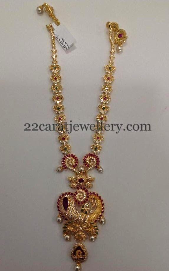 CZ Set with Dancing Peacock Locket | Jewellery Designs