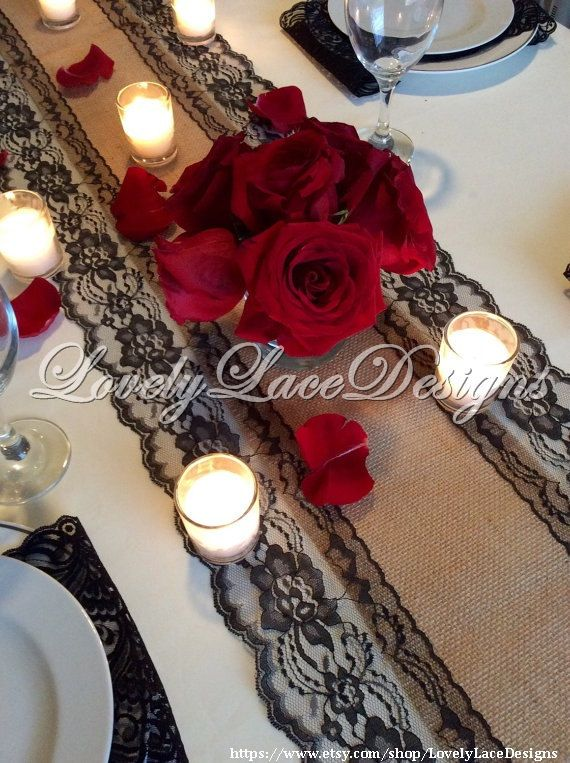 WEDDING Decor/Burlap Lace Table Runner/Black Lace, 5ft-10ft x 13in Wide, Black /Wedding Decor/Wedding Supplies/ gift/Home Decor, Black Runne by LovelyLaceDesigns on Etsy