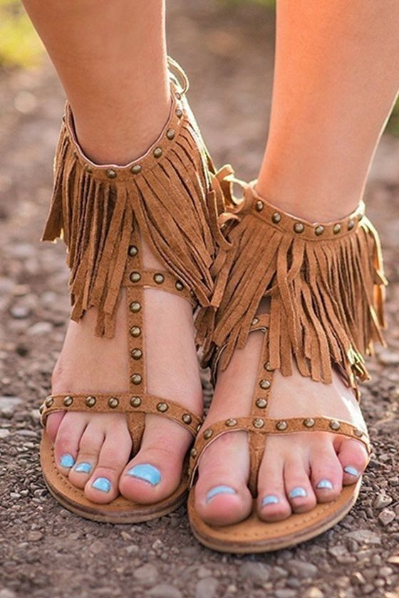 32d5477f4 Womens Stud Gladiators Flats Sandals T Strap Ankle Tassels Flip Flops Shoes