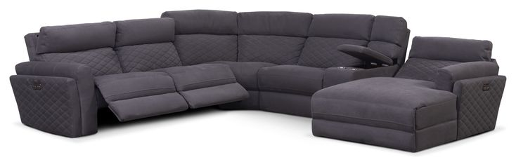 Living Room Furniture - Catalina 6-Piece Power Reclining Sectional with Right-Facing Chaise and 2 Recliners - Gray