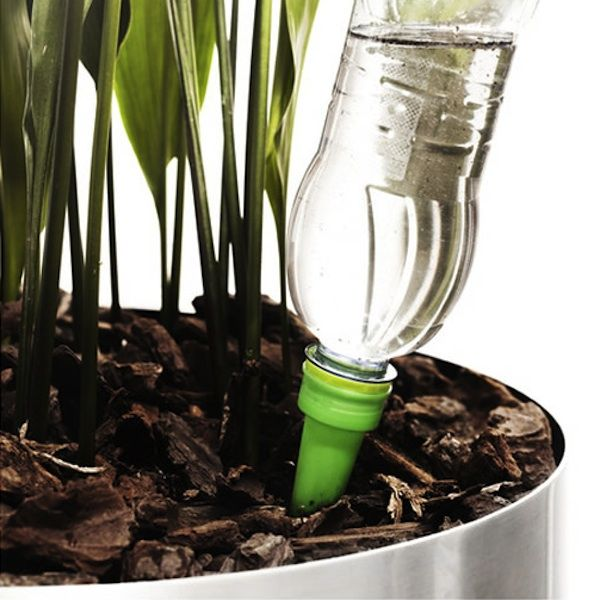 Reuse your plastic water bottle as a self-watering device for your plants as this long cone attaches to any regular plastic bottle.