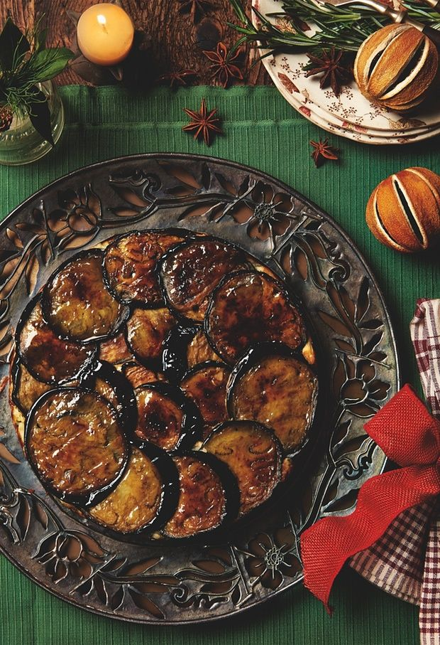 Photograph of Yotam Ottolenghi's aubergine, courgette and yoghurt upside-down cake