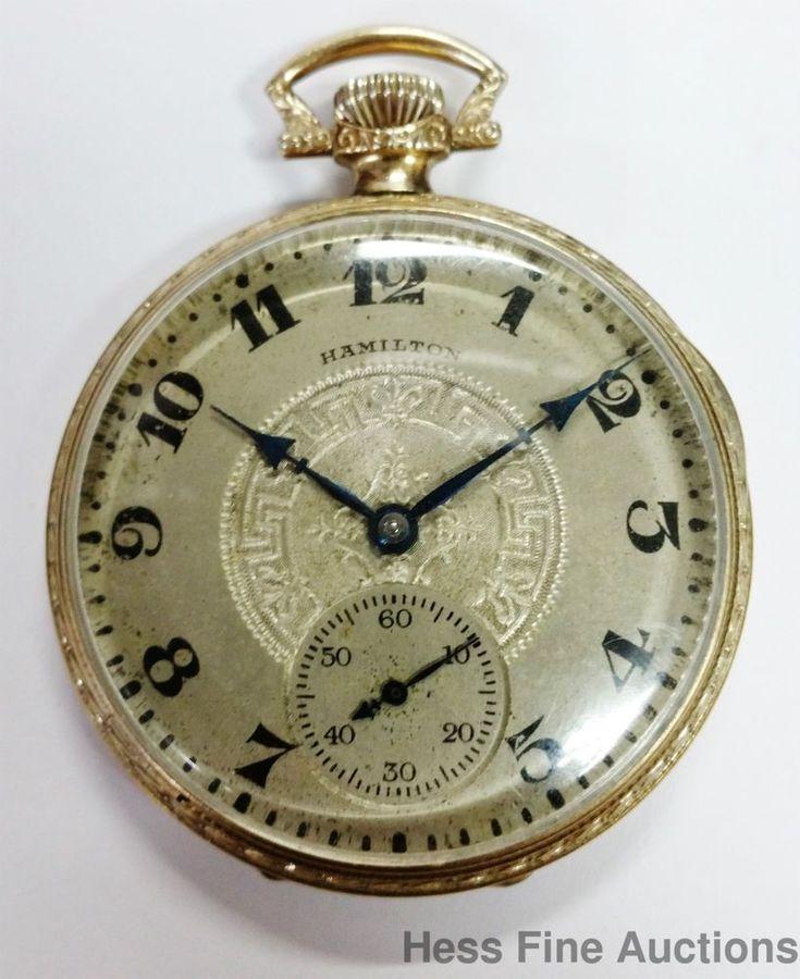 Ultra Fine Art Deco Fancy Case Dial Hamilton 17J Working Mens Pocket Watch #Hamilton #pocketwatches