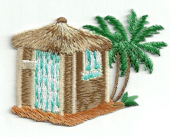 Beach Hut W/Palm Trees Tropical - Island - Embroidered Iron On Applique Patch #Unbranded