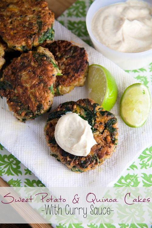 Sweet Potato and Quinoa Patties with Curry Sauce #RecipeRedux ~ http://www.healthy-delicious.com