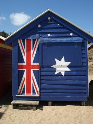 Beach shack painted with the Australian flag