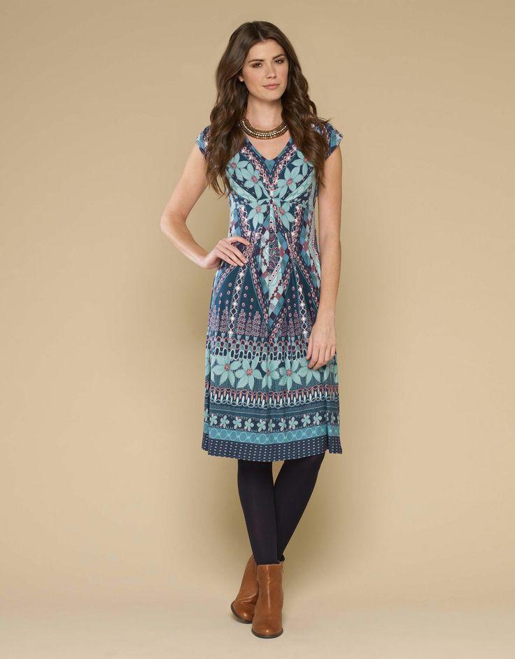 Lydia Border Print Dress | Multi | Monsoon