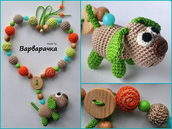 Nursing necklace Breastfeeding necklace with amigurumi dog - FREE SHIPPING