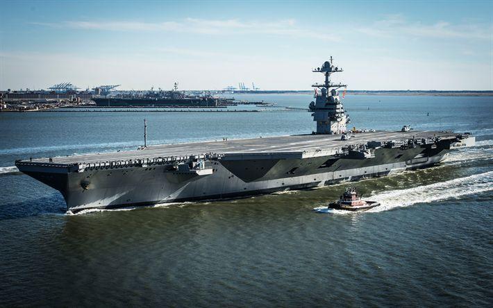 Download imagens USS Gerald R Ford, CVN-78, 4k, de propulsão nuclear porta-aviões, Da Marinha dos EUA, navios de guerra, American porta-aviões
