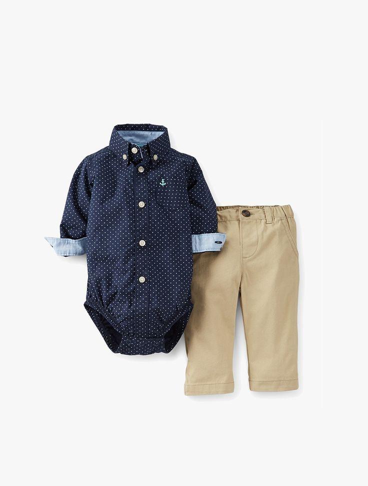 Carter's: Navy Polka Dot Shirt Set Baby Boy