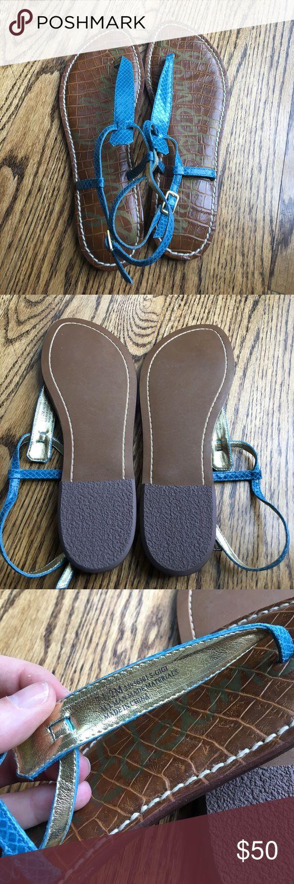NWOT Sam Edelman Gigi Sandals Light blue snake skin sandals. Never worn, perfect condition. Size 7.5! Sam Edelman Shoes Sandals