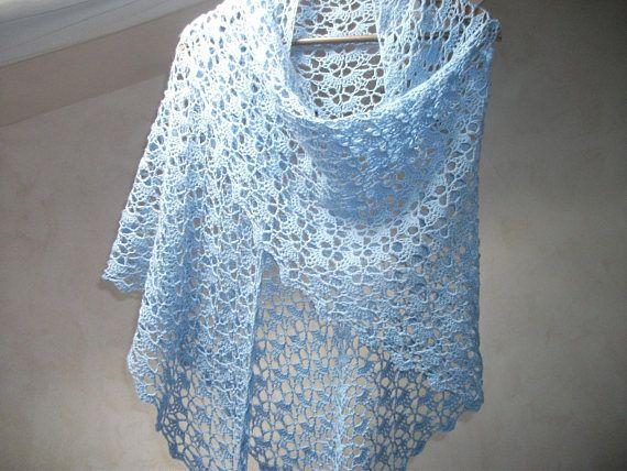 Châle dentelle au crochet 100% laine baby mérino 195 m x
