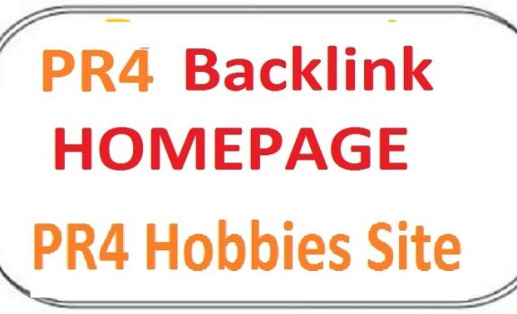I will posting your link on my PR4 Hobbies Site.Your link will be placed on the homepage of my PR4 Hobbies Site. which will stay permanently. To build your link order me. 100% guarantee of PR4 Hobbies Site. No doubt you are going to get a high pr backlink of PR4 Hobbies Site