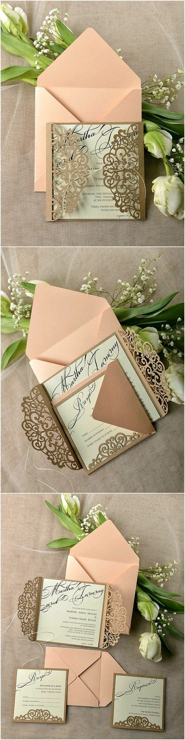 wedding card manufacturers in tamilnadu%0A Eco Peach Rustic Laser Cut Wedding Invitation Cards  not peach but a cute  idea