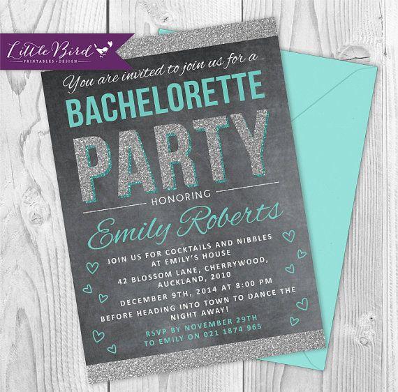 Tiffany Blue Bachelorette invitation. Chalkboard and glitter <3