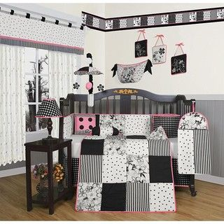 @Overstock.com - Black and White Flower Dots 13-piece Crib Bedding Set - This floral black and white crib bedding set is a beautiful way to dress up a crib and nursery. The 13-piece set includes a quilt, crib sheet, two pillows, and much more, all featuring an adorable flower and dot design that adds style to a girls room.  http://www.overstock.com/Baby/Black-and-White-Flower-Dots-13-piece-Crib-Bedding-Set/5235457/product.html?CID=214117 $104.49