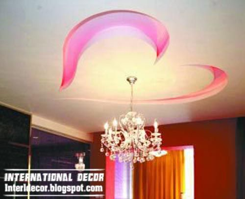 romantic heart ceiling, modern false ceiling for kids room interior design