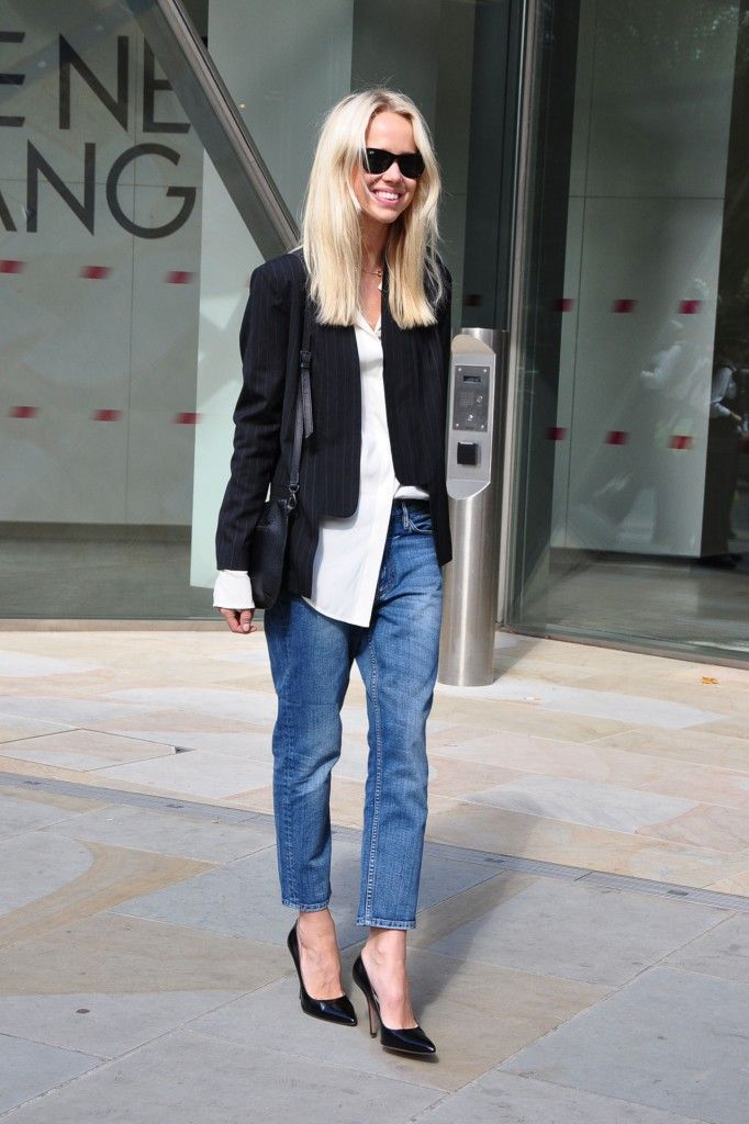 White shirt black blazer jeans u0026 heels........love it except for the half-tucked shirt. Not ...