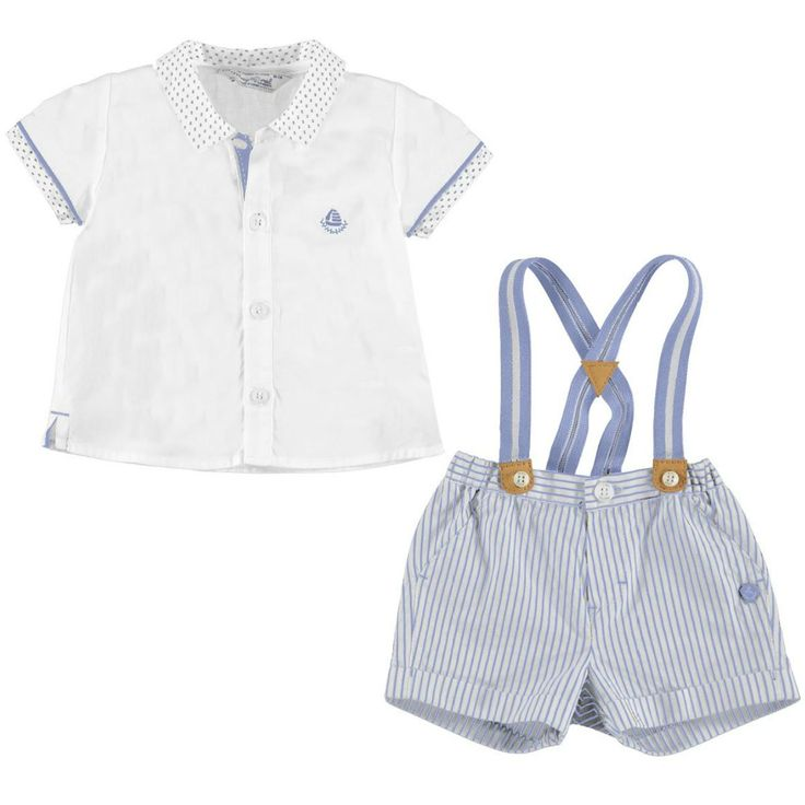 Lovely summer outfit from Mayoral 2017 Spring Summer baby boys collection. The white shirt is decorated by little blue dots around the collar with Mayoral logo on te chest. The shorts are in blue stripes pattern, have two side pockets and come with a pair removable braces.  Shirt and shorts: 100%. Braces: 80% polyester, 20% elastane.