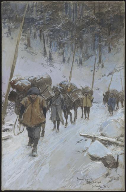 """""""Chasseurs alpins, Gaschney (Alsace), 18 janvier 1916"""" de François Flameng. Paris, musée de l'Armée - Photo (C) Paris - Musée de l'Armée, Dist. RMN-Grand Palais / image musée de l'Armée"""