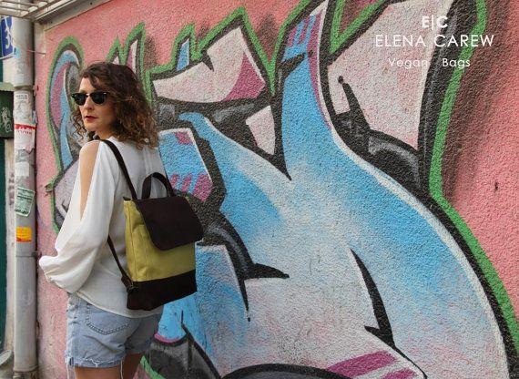 Green canvas backpack Backpack rucksack Backpack by ElenaCarew