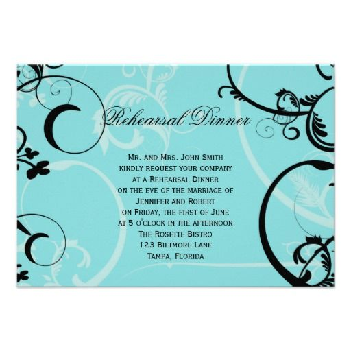 Turquoise Black Swirl Wedding Rehearsal Dinner Announcements