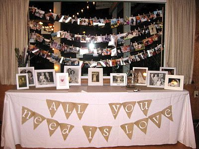Fantastic Anniversary Party Table I love this we should do this for Mom and Daddy's 60th Anniversary!
