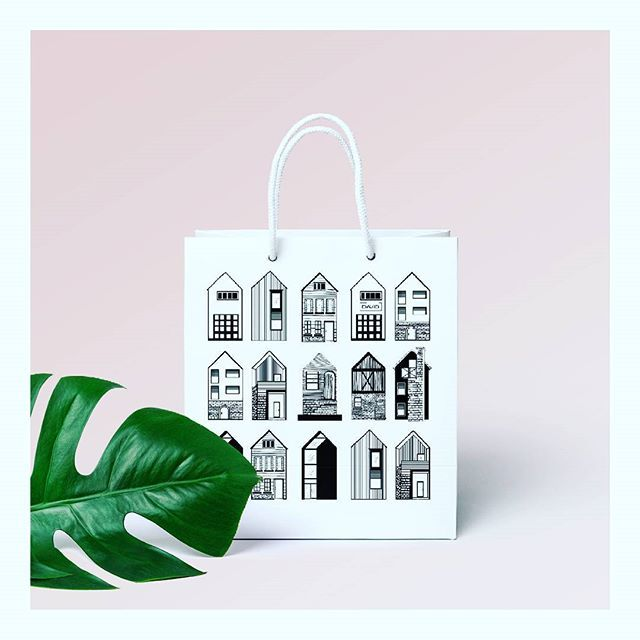 ▶ Gifts for architects ◀  #illustration #packing #design #illustration #architecture #romaniandesign #gift #architect #bag #cosminadavid #blackandwhite #minimalism #houses #graphicdesign #drawing