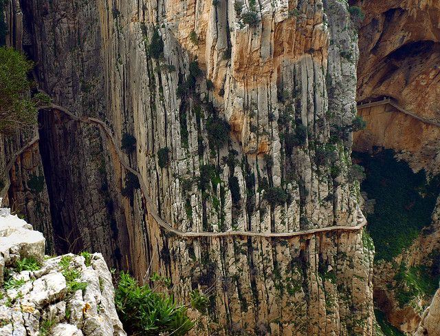 In El Chorro, Spain rests the most dangerous trail in the world: the El Caminito del Rey. The path is only three feet wide and 99% of it doesn't have a handrail.