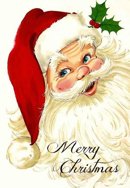 Vintage Christmas Card Santa メリー クリスマス ビンテージ サンタに直面 18922 クリスマス