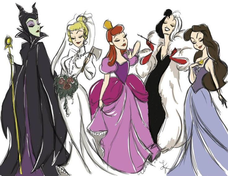 """What a strange combination of characters! There's Maleficent, what appears to be the Axe Bride from Haunted Mansion, Anastasia from Cinderella, Cruella de Vil, and Vanessa from """"The Little Mermaid."""""""
