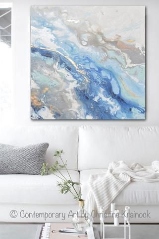 """Found Solace"" Original Art Stunning Blue White Abstract Painting. Marbled effect in shades of ocean blue, sea foam green, white, grey, greige, light blue, navy blue with gold leaf accents. Textured, large art, wall art, coastal home decor. Modern liquid effect painting with calm, serene coastal feel of the sea containing accents of metallic gold leaf which reflects light, creating a stunning effect. Mixed media acrylic on 36x36x1.5"" canvas. By Contemporary, California Artist, Christine…"