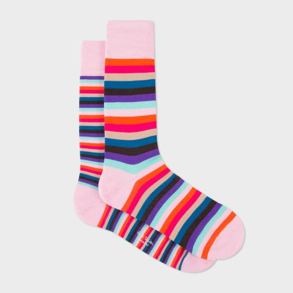 Men's Pink Multi-Coloured Stripe Odd Socks