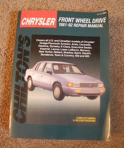 Chilton Repair Manual 1981 - 1992 Chrysler Dodge & Plymouth Front Wheel Drive