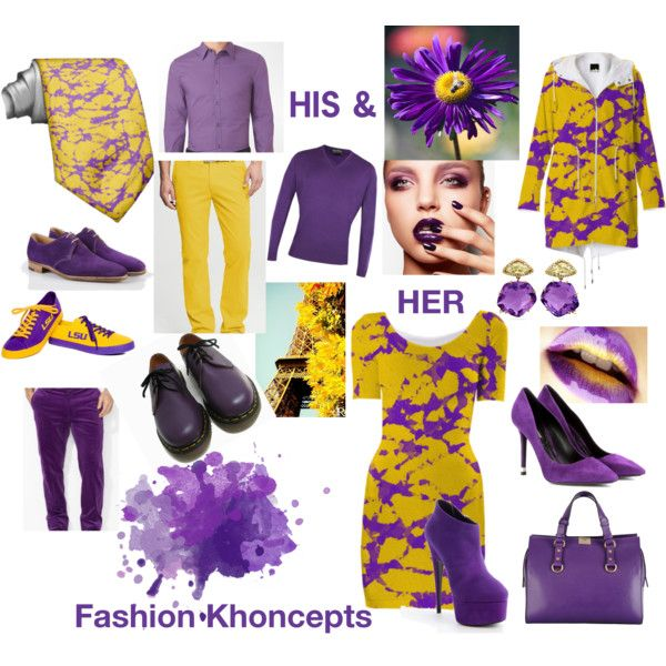 """His and Her Purple and Gold Fall Fashion Khoncepts"" by Khoncepts.com #Bodycon dress #trendyfallfashions"
