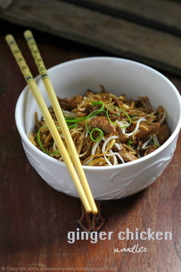 noodles makaron azjatycki z kurczakiem, imbirem i omletem - przepis