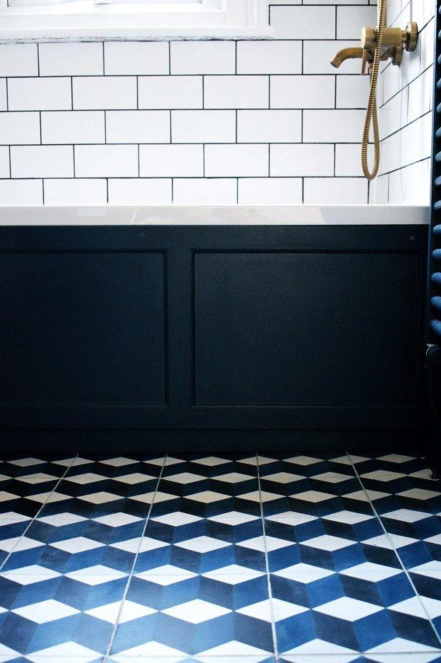 House Tour: Our Blue, Brass & Metro Bijou Bathroom | Design Soda : Interiors Blog brass-bath-tap-fittings-encaustic-cement-tiles-hague-blue-teak-vanity-bathroom