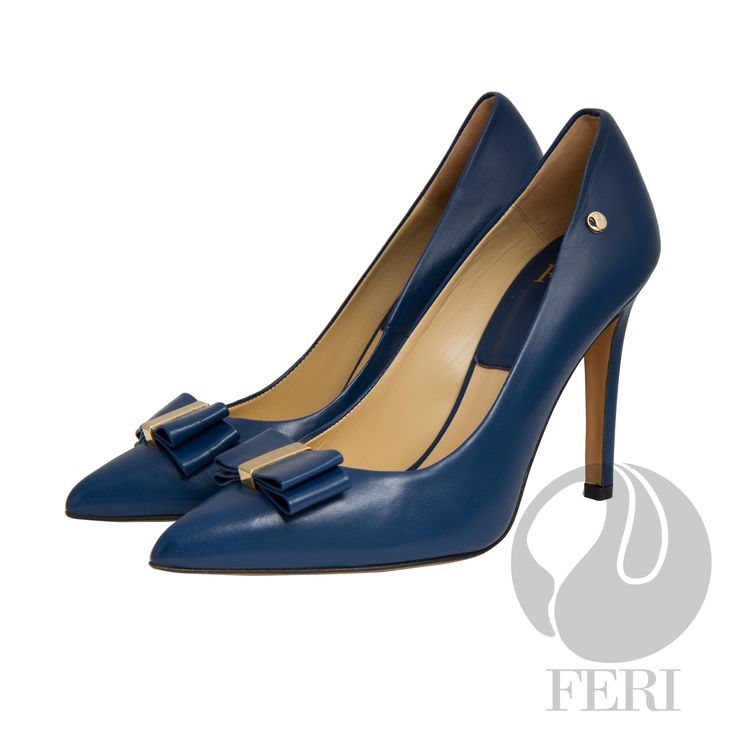 FERI - CECILY - SHOES - Blue  - Napa leather pump with stiletto heel - Napa leather sole and insole - Colour: Blue - FERI logo hardware on sole, outside of heel and on toe bow - Heel height: 4.5 inches  Invest with confidence in FERI Designer Lines. www.gwtcorp.com/ghem or email fashionforghem.com for big discount
