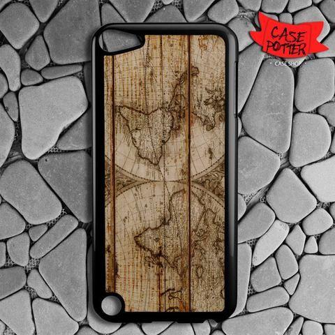 Old World Map Wood iPod 5 Black Case