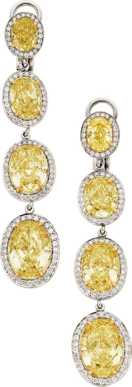Canary Yellow Diamond Drop Earrings Surmounted In White Diamonds