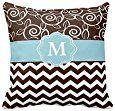 Amazon.com: Decors Dark Brown and Light Blue Chevron Monogram Pillow: Home & Kitchen
