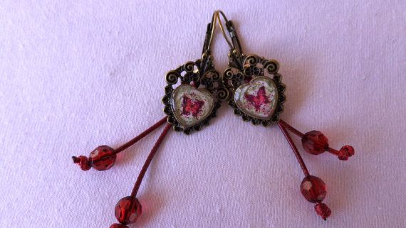 Antique gold vintage earrings decoupage by ArtisticBreaths on Etsy