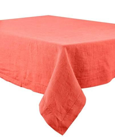 Harmony - Nappe en lin lavé unie rectangulaire Nais rouge-orange-tomette - 100% Lin - 170x250 cm