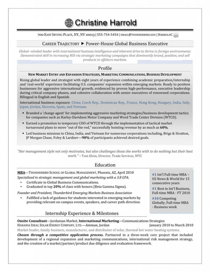 117 best Resume \ Cover Letter work images on Pinterest Resume - mba graduate resume